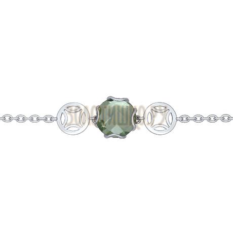 Браслет из серебра с зелёным аметистом 92050088