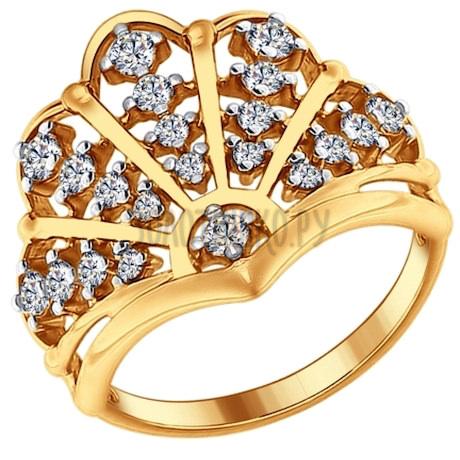 Кольцо из золочёного серебра с фианитами 93010622