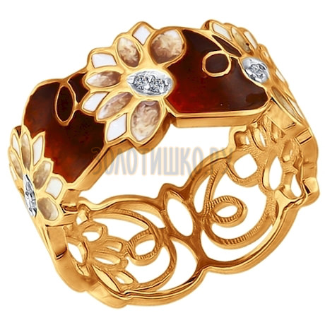 Кольцо из золочёного серебра с эмалью с фианитами 93010642