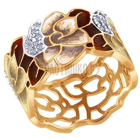 Кольцо из золочёного серебра с эмалью с фианитами 93010643