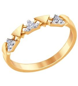 Кольцо из золочёного серебра с фианитами 93010644