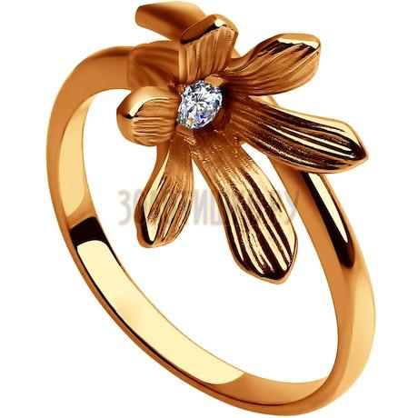 Кольцо из золочёного серебра с фианитом 93010656