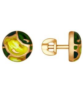 Позолоченные серьги-пусеты с эмалью 93020743