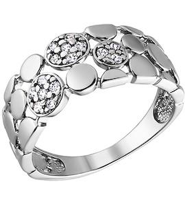 Кольцо из родированного серебра с фианитами 94010135