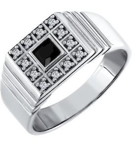 Кольцо-печатка из серебра с чёрным фианитом в центре 94010200