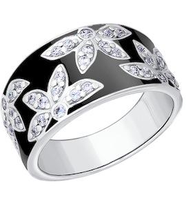Кольцо из серебра с эмалью с фианитами 94010235