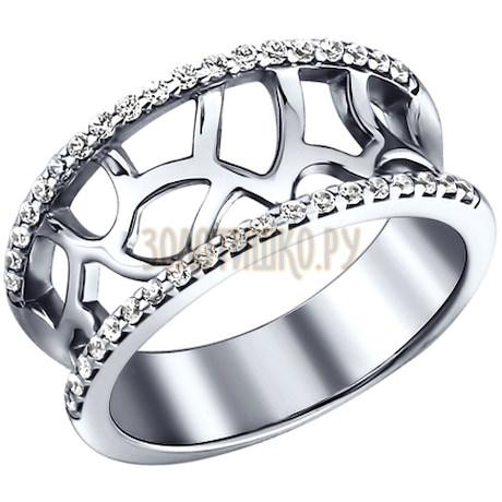 Кольцо из серебра с фианитами 94010238