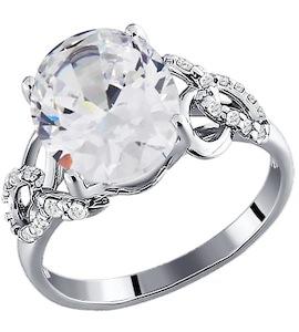 Кольцо из серебра с фианитами 94010323