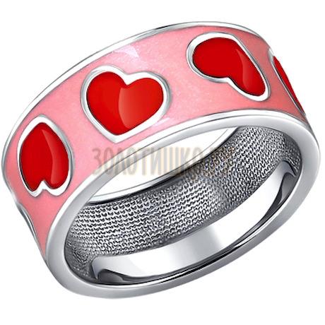 Серебряное колечко с розовой и красной эмалью 94010325