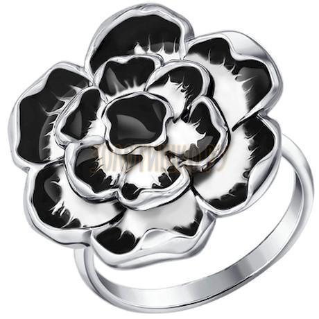 Кольцо цветок с чёрной эмалью 94010383