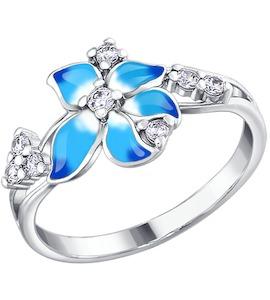 Кольцо цветок с голубой эмалью 94010401