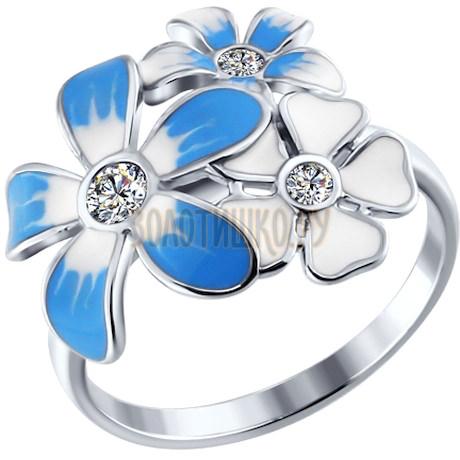 Кольцо цветы из серебра с голубой эмалью c фианитами 94010405