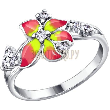 Кольцо из серебра с эмалью с фианитами 94010411