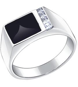 Печатка из серебра с эмалью с фианитами 94010434