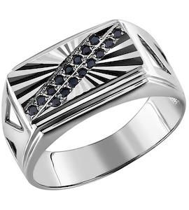 Печатка из серебра c черными фианитами и узором лучи 94010965