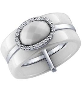 Белое керамическое кольцо с серебром и фианитами 94011600
