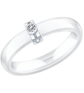 Белое керамическое кольцо с серебром и фианитом 94011812