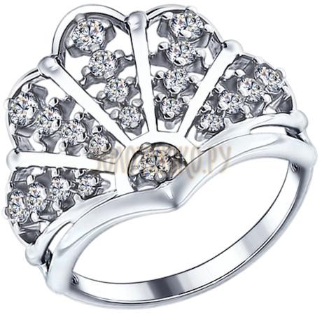 Кольцо из серебра с фианитами 94012210