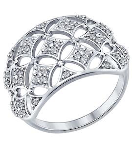 Кольцо из серебра с фианитами 94012255