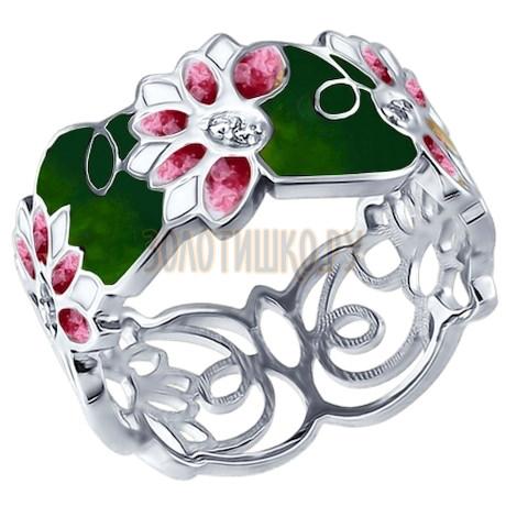 Кольцо из серебра с эмалью с фианитами 94012259