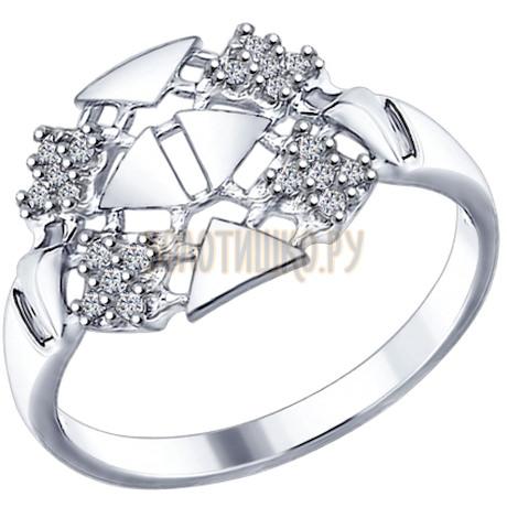 Кольцо из серебра с фианитами 94012275