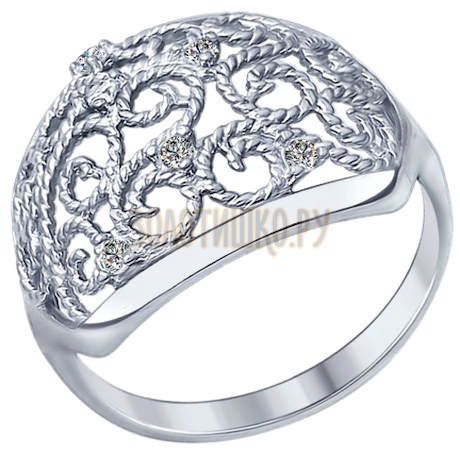 Кольцо из серебра с фианитами 94012301