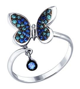 Кольцо из серебра с зелеными и синими фианитами 94012308