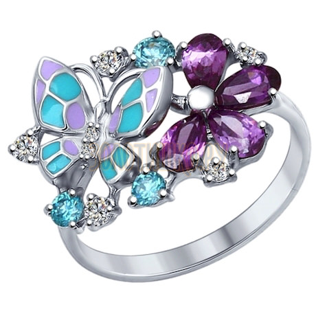 Кольцо из серебра с эмалью с бесцветными, зелеными и сиреневыми фианитами 94012320