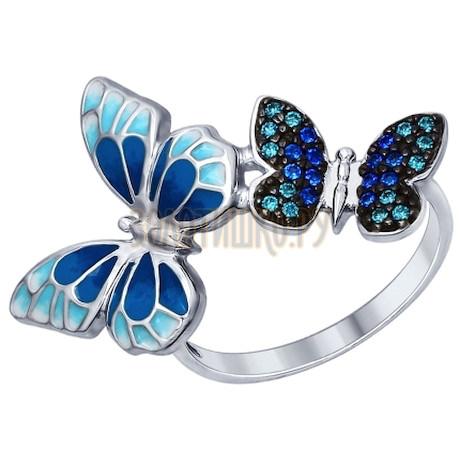 Кольцо из серебра с эмалью с зелеными и синими фианитами 94012325