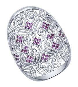 Кольцо из серебра с сиреневыми фианитами 94012347