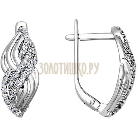 Серьги из серебра с фианитами 94020129