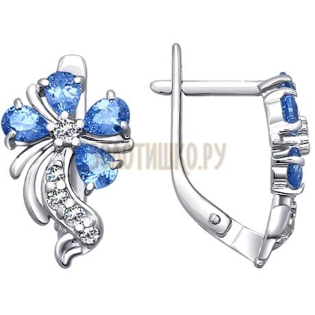 Серьги из серебра с голубыми фианитами 94020249