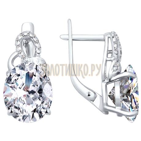 Серьги из серебра с фианитами 94020437