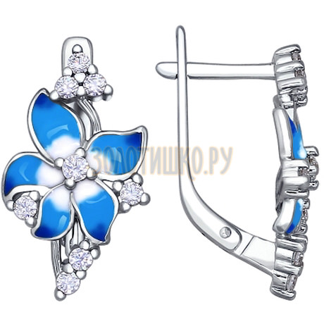 Серьги-цветки с голубой эмалью 94020471