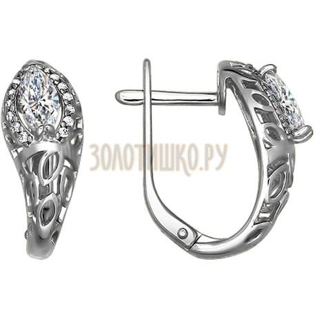 Серьги из серебра с фианитами 94021251