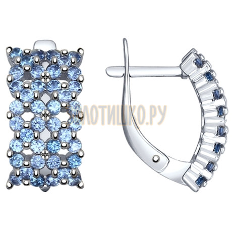 Серьги из серебра с голубыми фианитами 94022411