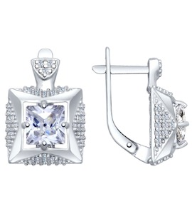 Серьги из серебра с фианитами 94022418