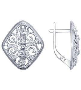 Серьги из серебра с фианитами 94022426