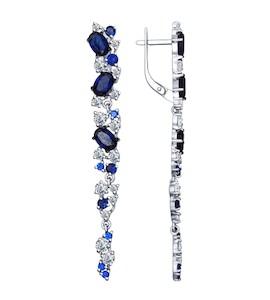 Серьги длинные из серебра с бесцветными и синими фианитами 94022427
