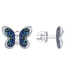 Серьги-пусеты из серебра с зелеными и синими фианитами 94022441