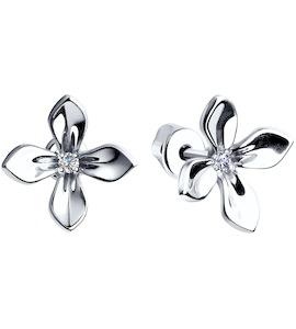 Серьги-пусеты из серебра с фианитами 94022470