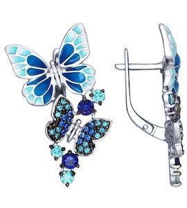 Серьги из серебра с эмалью с зелеными и синими фианитами 94022474