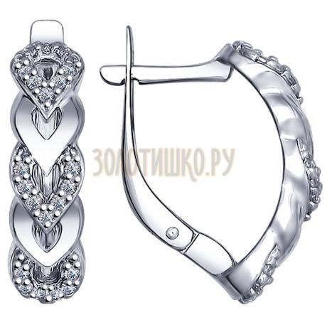 Серьги из серебра с фианитами 94022482