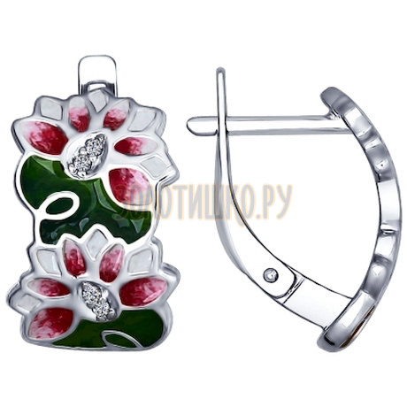 Серьги из серебра с эмалью с фианитами 94022509