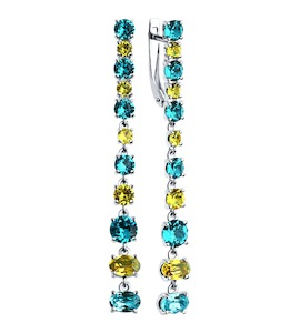 Длинные серебряные серьги с кристаллами Swarovski 94022533
