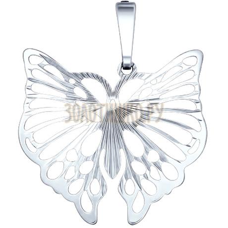 Серебряная подвеска в форме бабочки с алмазной гранью 94030032