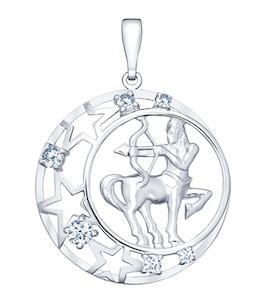 Подвеска знак зодиака из серебра с фианитами 94030094