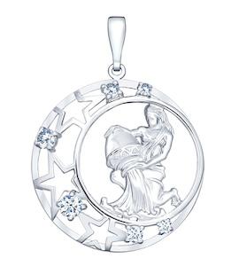 Подвеска знак зодиака из серебра с фианитами 94030096