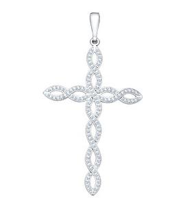 Крест из серебра с фианитами 94030101