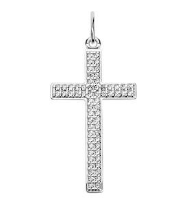 Крест из серебра с фианитами 94030202